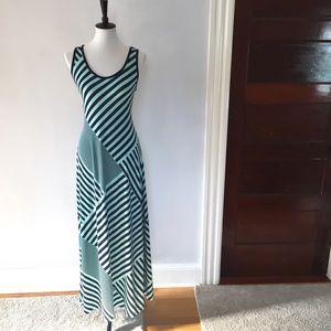 [Faded Glory] blue horizontal striped maxi dress